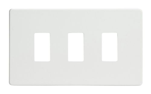 Varilight XDQPGY3S Screwless Premium White 3 Gang PowerGrid Plate (Twin Plate)